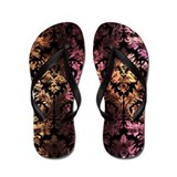 Damask pattern on pink and yellow Flip Flops