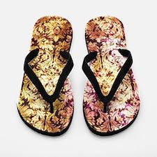 Damask - pink yellow Flip Flops