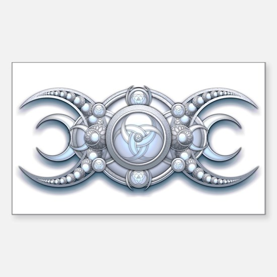 """Ornate Wiccan Triple Goddess 3"""" Lapel Decal"""