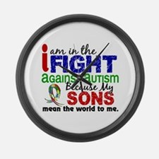 In The Fight 2 Autism Large Wall Clock