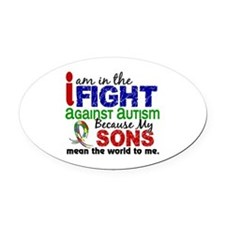 In The Fight 2 Autism Oval Car Magnet