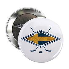 """Svensk Ishockey Flag Logo 2.25"""" Button"""