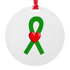 Green Heart Ribbon Ornament