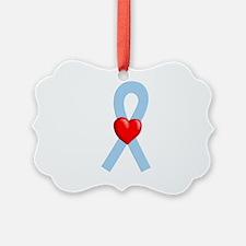 Light Blue Heart Ribbon Ornament