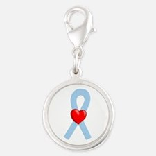 Light Blue Heart Ribbon Charms