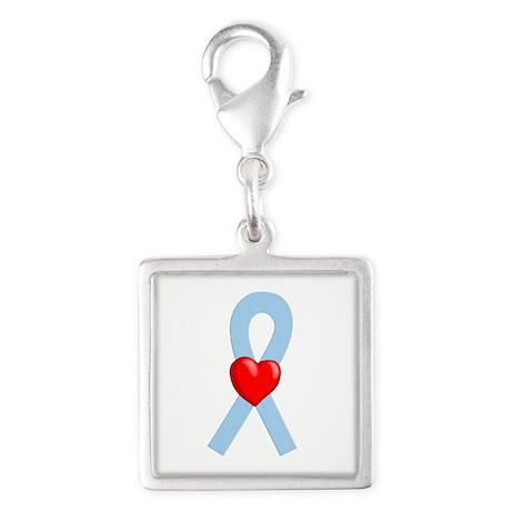 Light Blue Heart Ribbon Charms