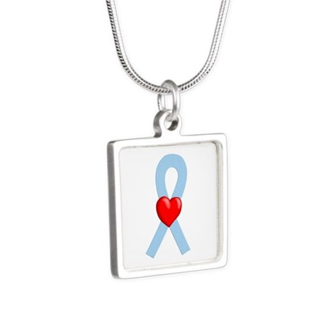 Light Blue Heart Ribbon Necklaces