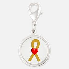 Gold Heart Ribbon Charms