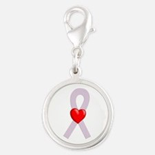 Orchid Heart Ribbon Charms