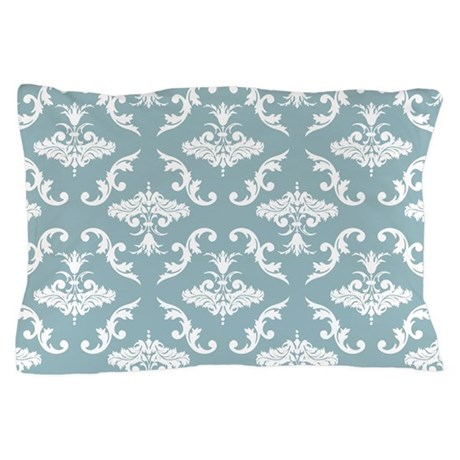 Blue and White Damask Pillow Case