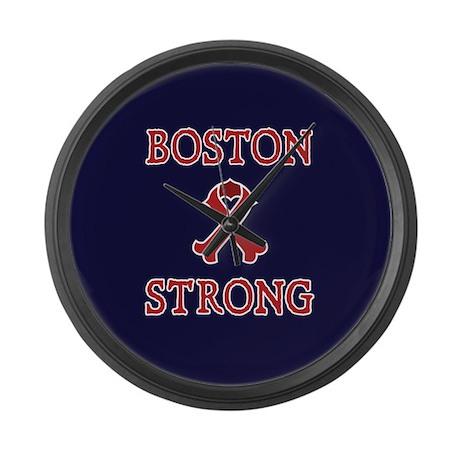 Boston Strong Ribbon Large Wall Clock