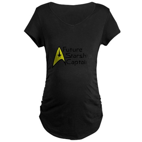 Future Starship Captain Maternity Dark T-Shirt