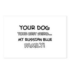 Russian Blue Cat designs Postcards (Package of 8)