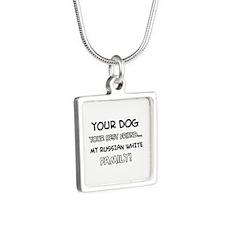 Russian White Cat designs Silver Square Necklace
