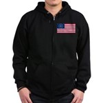 US - 38 Stars Concentric Circles Flag Zip Hoodie