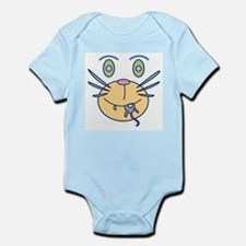 Snack Cat Cartoon Infant Bodysuit blue/white/pink