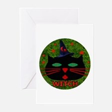 Cat Witch Greeting Cards (Pk of 10)