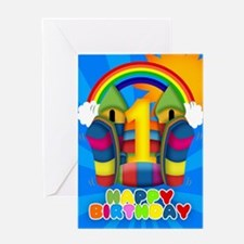 1st Birthday Card With Bouncy Castle And Rainbow