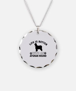 Afghan Hound vector designs Necklace
