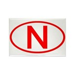 Norway - N Oval Rectangle Magnet (10 pack)