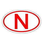 Norway - N Oval Oval Sticker