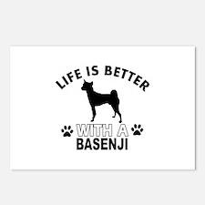 Basenji vector designs Postcards (Package of 8)