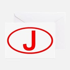 Japan - J Oval Greeting Cards (Pk of 10)