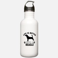 Beagle vector designs Water Bottle