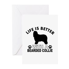 Bearded Collie vector designs Greeting Cards (Pk o