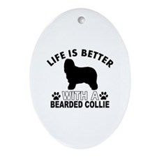 Bearded Collie vector designs Ornament (Oval)