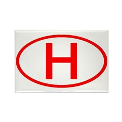 Hungary - H Oval Rectangle Magnet (10 pack)
