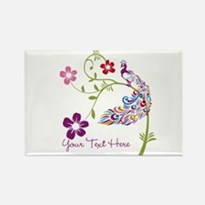Add Text Colored Peacock Rectangle Magnet
