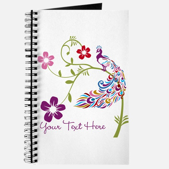 Add Text Colored Peacock Journal
