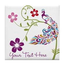 Add Text Colored Peacock Tile Coaster