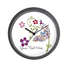 Add Text Colored Peacock Wall Clock