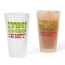 Zombie Ate Homework Drinking Glass