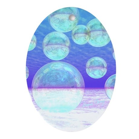 Frosty Clarity Abstract Ornament (Oval)