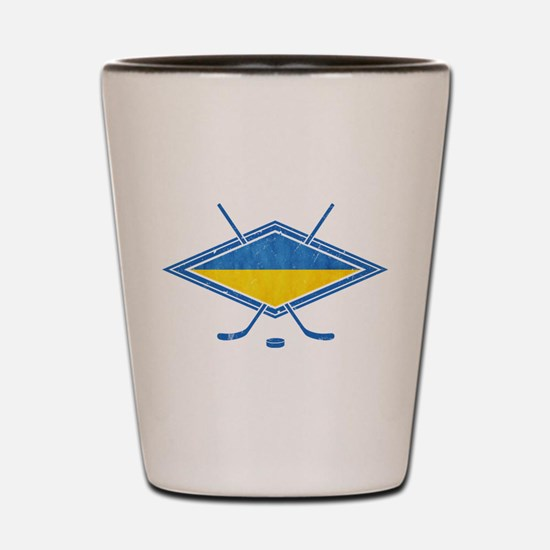 Ukrainian Ice Hockey Flag Shot Glass