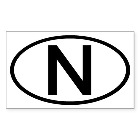 Norway - N Oval Rectangle Sticker