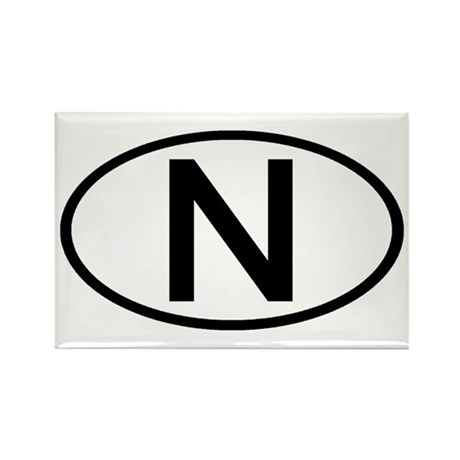 Norway - N Oval Rectangle Magnet
