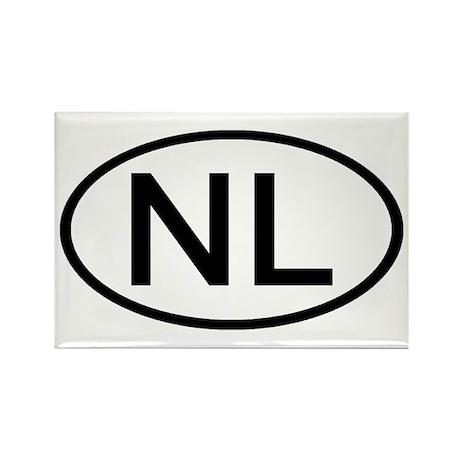 Netherlands - NL Oval Rectangle Magnet (10 pack)