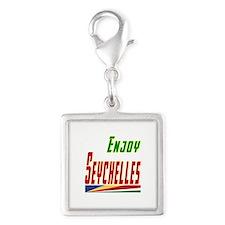 Enjoy Seychelles Flag Designs Silver Square Charm