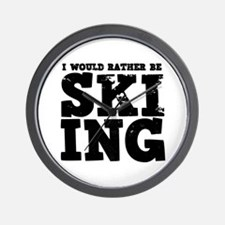 'Rather Be Skiing' Wall Clock