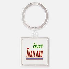 Enjoy Thailand Flag Designs Square Keychain