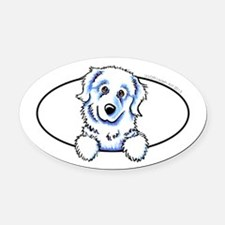 Great Pyrenees Peeking Oval Car Magnet
