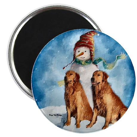 """Golden Retriever Christmas 2.25"""" Magnet (10 pack)"""