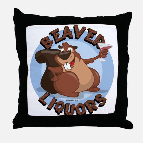 Beaver-Liqours.png Throw Pillow