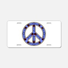 Fancy Peace Sign Aluminum License Plate