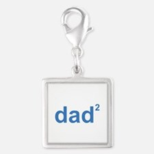 Dad Of Two Silver Square Charm