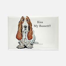 Kiss My Bassett!! Rectangle Magnet